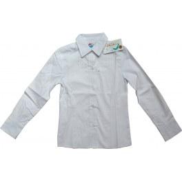 Bluzka Biała Koszulowa z Cyrkoniami